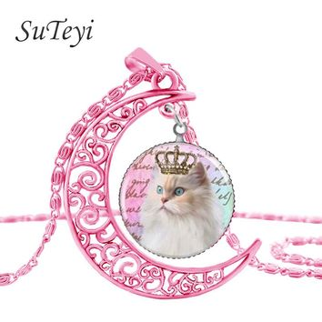 FREE Persian Cat Pink Moon Glass Cabochon Pendant Necklace