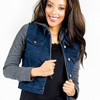 14CJ002-10-4 Dark Wash Denim Jacket Apparel Jackets & Wraps DK BLUE Bare Feet Shoes