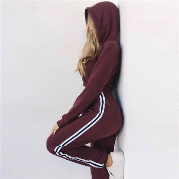 Fashion Cropped Hoodies Women's Casual Sweatshirt Set Gym Sport Fitness Tracksuit Pullover Yoga Running Exercise Sets Crop Top