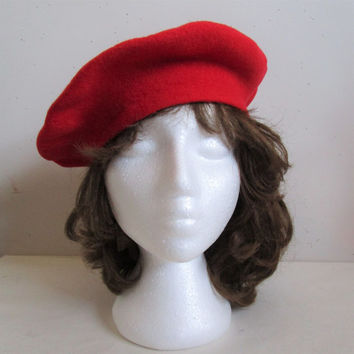 Vintage 1980s Wool Beret Parkhurst Red 80s Virgin Wool Felt Ladies Hat