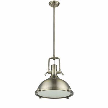 "IRONCLAD Industrial-style 1 Light Antique Brass Ceiling Mini Pendant 18"" Shade"