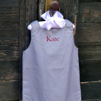 Personalized Black Gingham Girls Dress  - Easter - Monogrammed