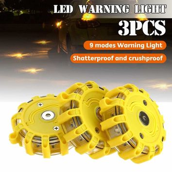 SMUXI 1pc or 3pcs 12X LED Flashing Yellow ABS Magnetic Roadside Disc Beacon