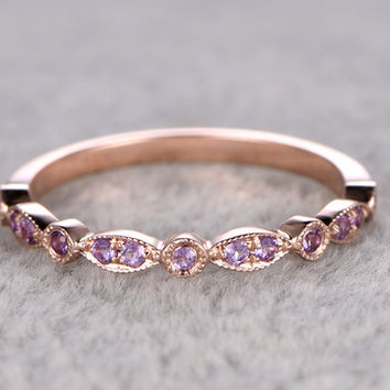Amethyst Wedding Ring 14k Rose Gold Antique Art Deco Half Eternity Band February Birthstone Ring