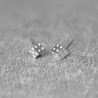 Lucky Dice Earrings, Sterling Silver Dice Stud Earrings, Geometric Earrings, Cube Earrings, Dice Studs, Dice Jewelry, gift for her