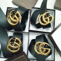 GUCCI Trending Woman Men Fashion Casual Classic Smooth Buckle Belt Leather Belt Black+Girl Box G