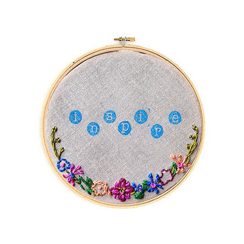 """Inspire Flower Floral 3"""" Embroidery Hoop Hand Stamped Wall Hanging Wall Art"""
