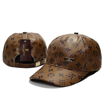 LV Women Men Leather Print Adjustable Travel Hat Sport Cap