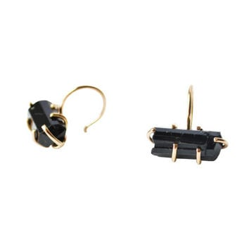 Gold Black Tourmaline Hoops, Tourmaline Earrings, Raw Stone Earrings, Black Raw Gemstone Earrings, Small Gold Hoops, Tiny Hoop Earrings