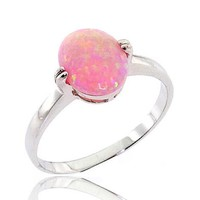 Oval Shape Synthetic Pink Opal Solitaire Sterling Silver Engagement Ring SPJ