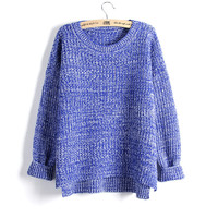 Women Loose Knitted Plain Pullover Sweater Jumper