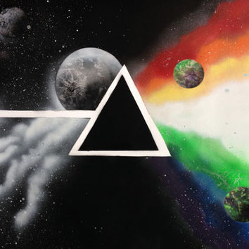 "Pink Floyd Outerspace Spray Paint Art Poster 28""x22"" rock band wall decor"