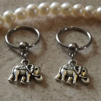 Elephant Captive Hoop Nipple Ring 14ga Belly/ Navel Earring Body Jewelry