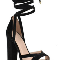 Angelina Platform Heel Sandals - Black