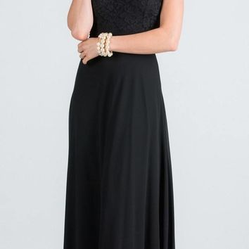 Black Long Formal Dress with Halter Embellished Neckline