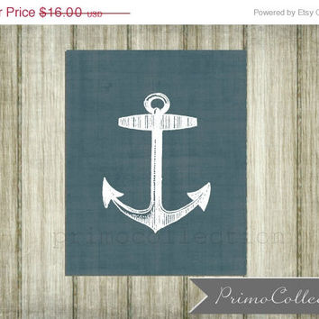 Nursery Wall Art Print / 8x10 inch / nautical theme / wall art / blue / boy's bedroom decor / anchor print / baby room / ocean / sea
