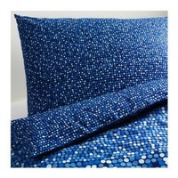 Ikea SMORBOLL 2pc Twin Duvet-Cover 100-Percent Cotton in Blue Color
