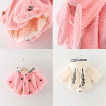 Winter Autumn Flower Lace Baby Outerwear Clothes Girls Jacket Winter Baby Girl Clothes Faux Fur Fleece Coat Warm Jacket Girls