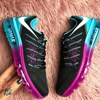 """NIKE"" Trending Fashion Casual Sports Shoes AirMax Back hook section knited Blue Rose soles"