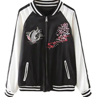 Black Fish and Floral Pattern Contrast Sleeve Bomber Jacket