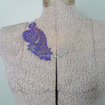 Purple Lace Necklace, Beaded Lace Necklace, Pearl and Lace Necklace, Asymmetrical Necklace