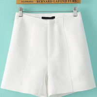 White High Waist Mini Shorts
