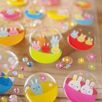 Rabbit family crystal sticker crystal ball japanese toy machine sticker Japan mini capsule toy coin in toy vending machines capsule rabbit