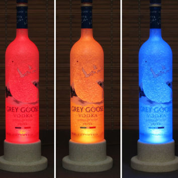 Grey Goose Vodka Color Changing Bottle Lamp/Bar Light/ LED Remote Controlled Eco Friendly rgb LED -French Vodka -Bodacious Bottles-