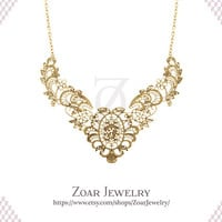 Metal Lace Bib Statement Fashion Party Necklace