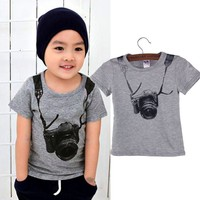toddler boy clothing Summer Children Boy Kids Camera Short Sleeve Tops O Neck T Shirt Tees Clothes lowest price mode enfantine