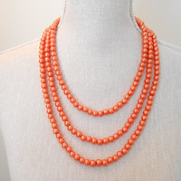 Orange necklace, 3 strand necklace, Bridal necklace, Pearls necklace, Bridesmaid necklace, Wedding necklace, Bridesmaid jewelry