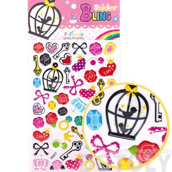 Colorful Hearts Skelelton Keys Bow Ties and Roses Shaped Girly Stickers for Scrapbooking