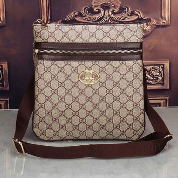 Gucci Shoulder Bag Men And Women Zipper Monogram Print Bag