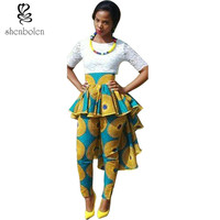 Africa Clothing 2016 summer women african Batik print pants new fashion culotte pattern Bandage short pants ankara 100%cotton