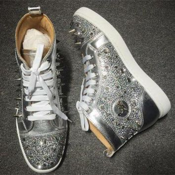 DCCK Cl Christian Louboutin Rhinestone Style #1955 Sneakers Fashion Shoes