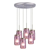 Besa Milo 4 Pendant 6JC Light with Purple Glass | www.hayneedle.com