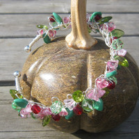 Tangled summer flowers bangle beaded wirework by GoddessJewelsUK