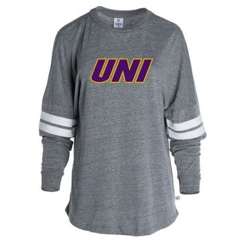 Official NCAA University of N. Iowa Panthers - PPNIU011 Women's Tri-Blend Oversized Football Tee with Stripes