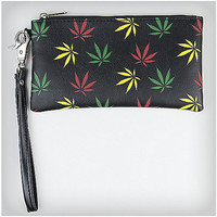 Rasta Leaf Zipper Wristlet - Spencer's