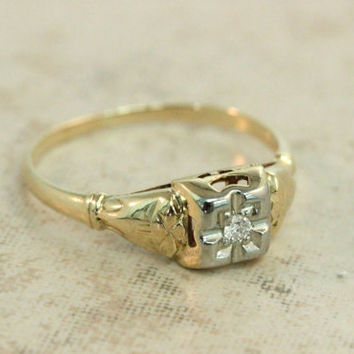 Vintage Engagement Ring Diamond Ring Art Deco Ring Retro Ring Yellow Gold Ring 1940s Ring Estate Ring Promise Ring Wedding Ring Size 5.75