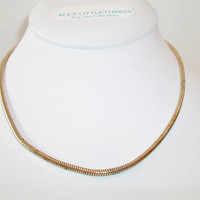 Vintage Snake Chain Necklace Gold Tone Classic Retro Costume Jewelry