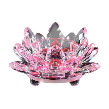 Crystal Glass Lotus Flower Candle Tea Light Holder Buddhist Candlestick