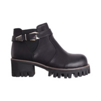 Grip Platform Buckle Ankle Boots