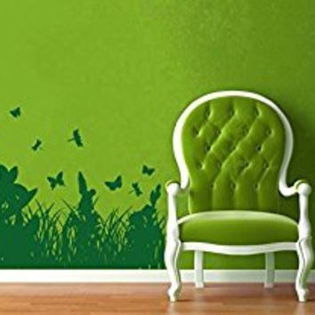 Wall Decal Vinyl Sticker Decals Art Decor Design Spikelets Wild flowers grass Plants Butterfly Dorm Bedroom Nursery Office House (r1088)