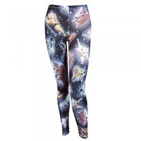 Freeze Womens Space Cats Leggings White