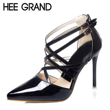 HEE GRAND Silver Gold High Heels Summer Style Bling Gladiator Sandals Elegant Pointed Toe Pumps Platform Shoes Woman DWD2626