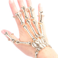 Gold High Polish Bone Design Beaded Ring Accent Skeleton Hand Bracelet