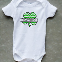 St. Patricks Day Personalized Chevron Name Onesuit or Kid's T-Shirt - Two Color