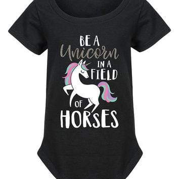 Black 'Be a Unicorn' Glitter Curved-Hem Tee - Girls