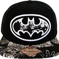 Batman, Dark Knight Sublimated Bill Snapback Hat, Black/White